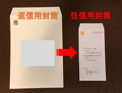 返信用封筒を往信用封筒に入れる