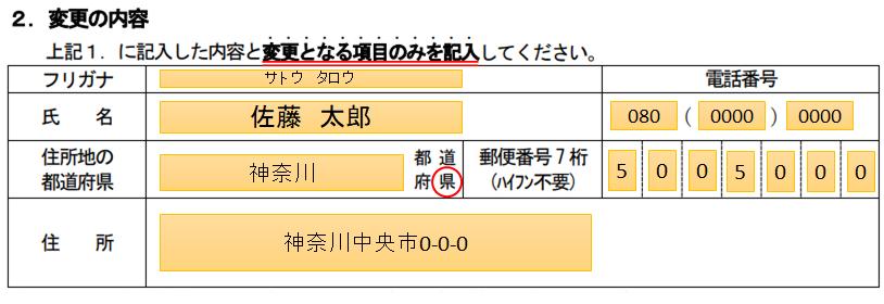 受験申込書記入事項(氏名等)変更届の書き方